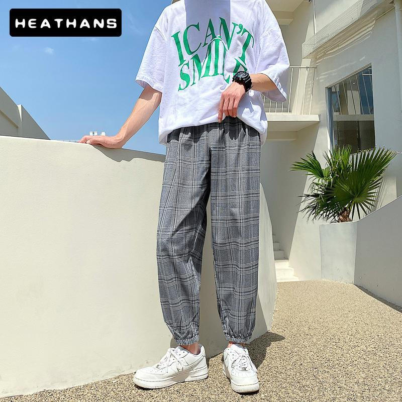 Men's Pants Summer Checked Trousers Korean Casual Handsome Ankle Length Couples Hong Kong Style Gray Plaid Sport