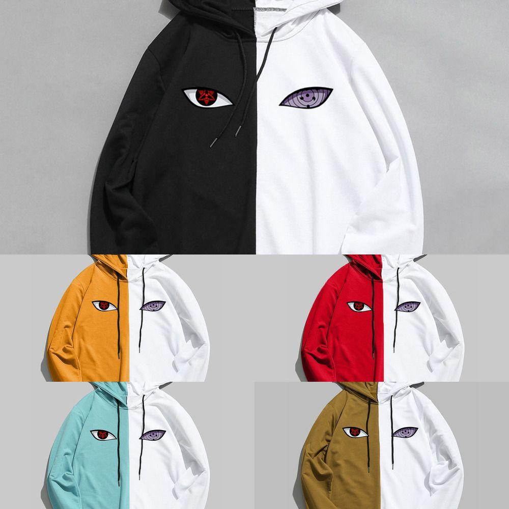 Yeni Aummer Anime Marka Baskı Sharingan Çift Renk Hoodies Kazak Erkekler Kadınlar Kazak Harajuku Hip Hop İnce Giysi X0610