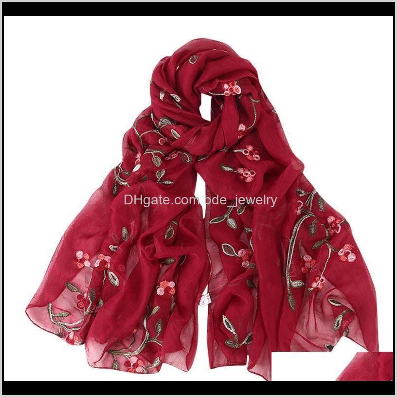 Wraps Sombreros, Guantes de moda AessiesoryWomen Bordado gasa hijab bufanda chal hijabs floral estampado floral color seda bufandas bufanda