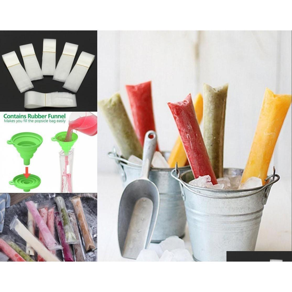 Kitchen Tools Kitchen, Dining Bar Home & Garden Drop Delivery 2021 Popsicle Molds Bags Mold Pouch With Zip Seals Funnel Diy Zip-Top Pop Pouch