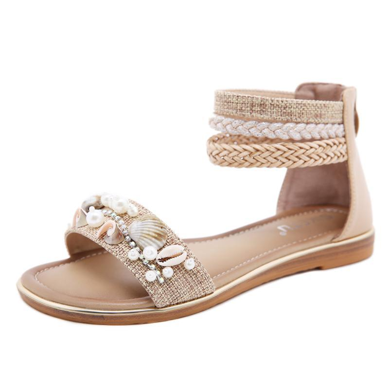 Damen Sandalen ethnische Art Shell Perlen flache Ferse Retro Roman