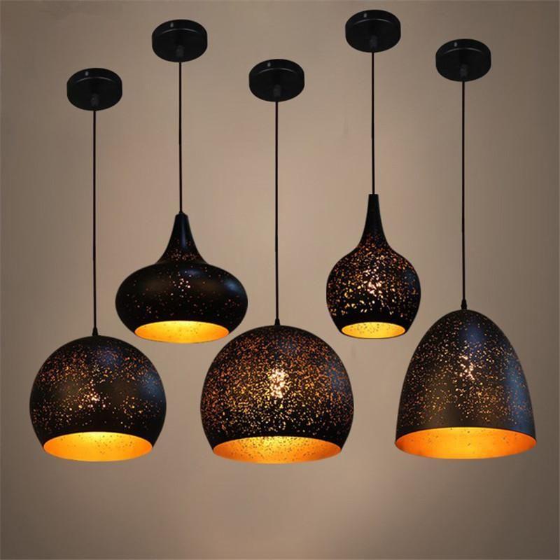Марокканский чердак подвесные светильники промышленные черные висячие лампы для гостиной кафе кухня E27 светодиодная подвеска светильника