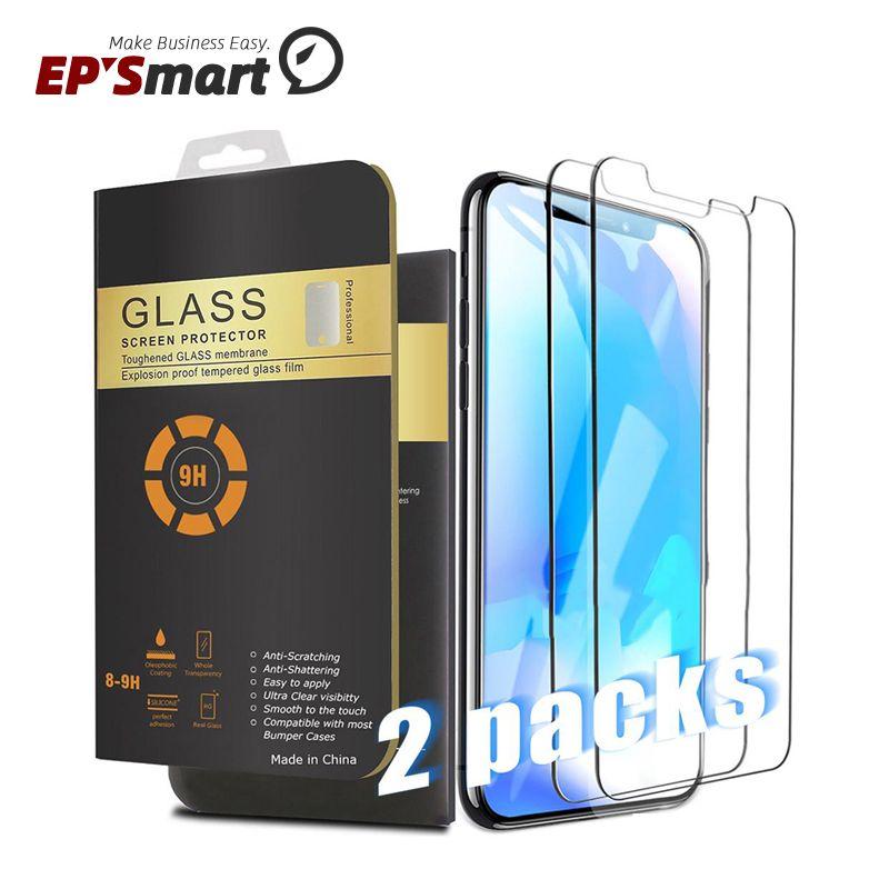 2 حزمة حماة الشاشة ل 2021 فون 12 ميني 11 برو ماكس XR XS 8 7 زائد x الزجاج المقسى Samsung Galaxy S21 S20 Note20 Ultra A52 0.26mm 2.5D Rounded Edge
