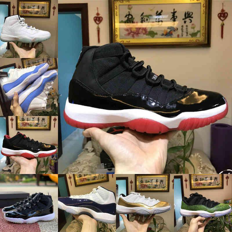 Satış 2021 Yeni Pantone Bred 11 11s Basketbol Ayakkabı 25th Yıldönümü Uzay Reçel Gama Mavi Paskalya Concord 45 Serin Gri Düşük Columbia Beyaz Kırmızı Sneakers C1