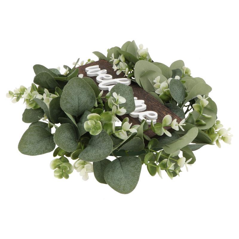 اكليل الزهور الزخرفية 1 قطعة باب شنقا اكليلا حازي محاكاة الأوكالبتوس (أخضر)