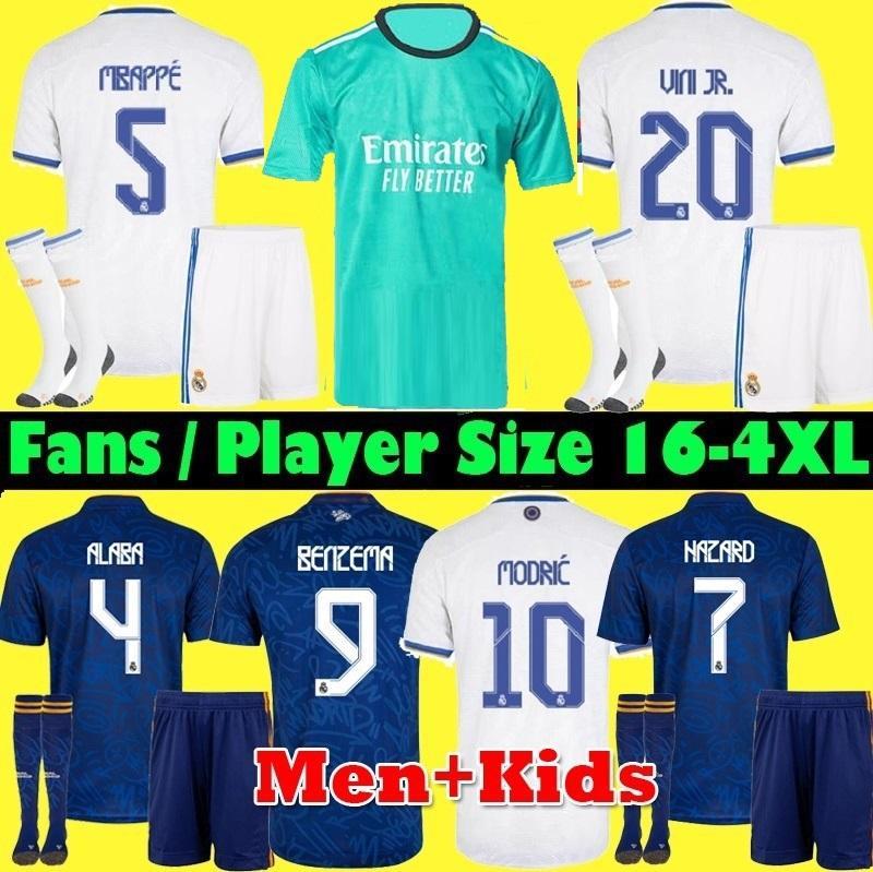 S-4XL Player FanS camisetas REAL MADRID 21 22 BENZEMA camiseta de fútbol soccer 2021 2022 ALABA HAZARD ASENSIO MODRIC MARCELO ISCO camiseta hombre + kit para niños