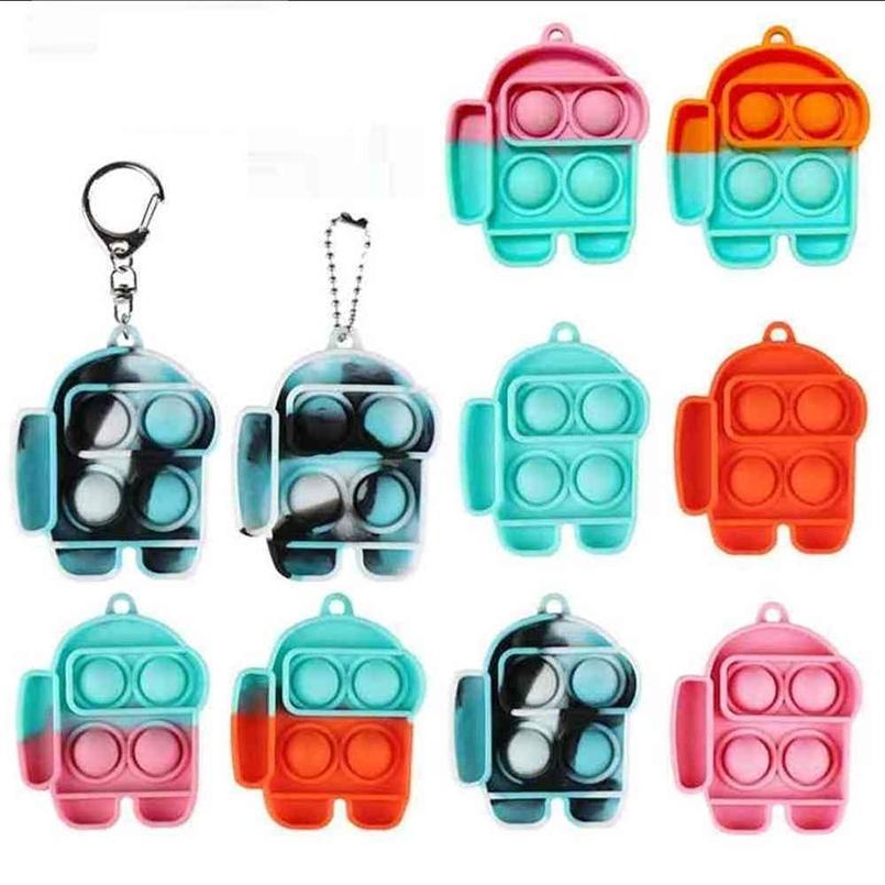 PUSH BUBLE POPPERS FidGet Juguetes Llavero Sensor Sensor Alivio Estrés Tik ToK Autismo Autismo Necesidades especiales Tenedor de anillo de llaves para niños adultos g4ux15o