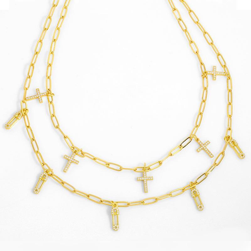 디자이너 새로운 액세서리 핀 종이 클립 목걸이 여성 패션 다이아몬드 크로스 쇄골 체인 NKT73