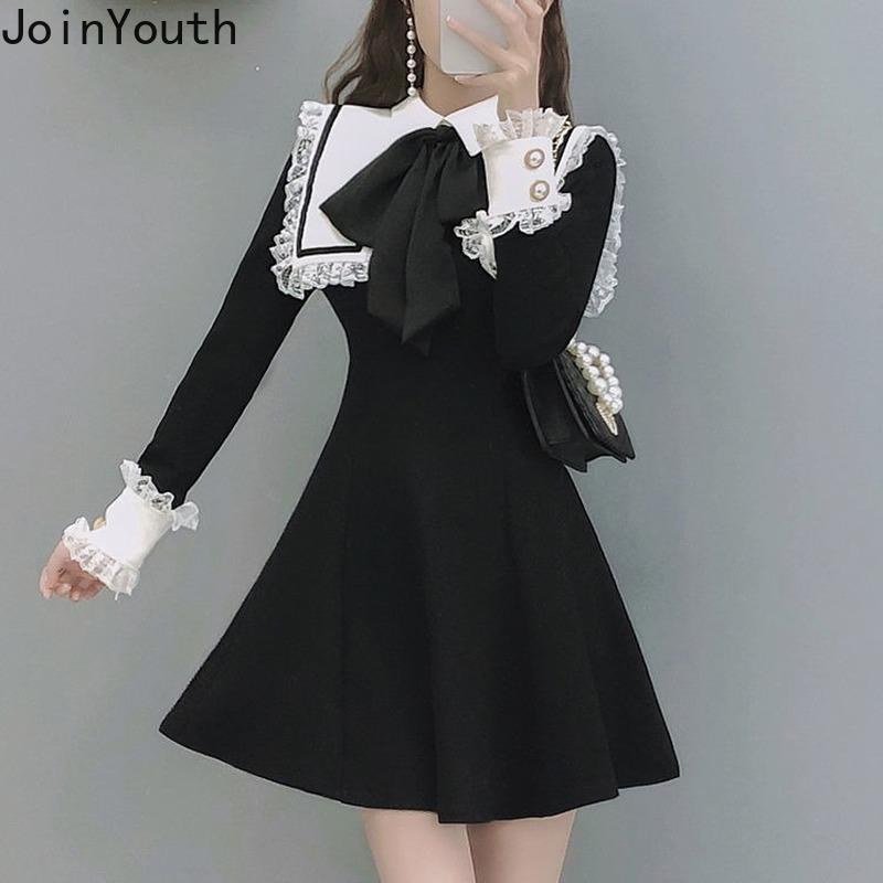 Abiti temperamenti di unireouth per le donne Giapponese Giapponese Patchwork in pizzo Vestidos Fashion Bow Robe Chic Elegante Mini Dress Femmina 7B513 210423
