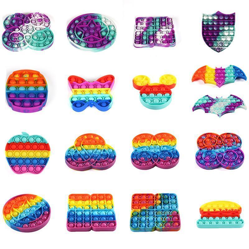 Rainbow Push Bubble Sensory Addget Toy, Autism Special Needs Stress Reliever Ansia Giocattoli per rilievi per bambini Regali per feste di compleanno
