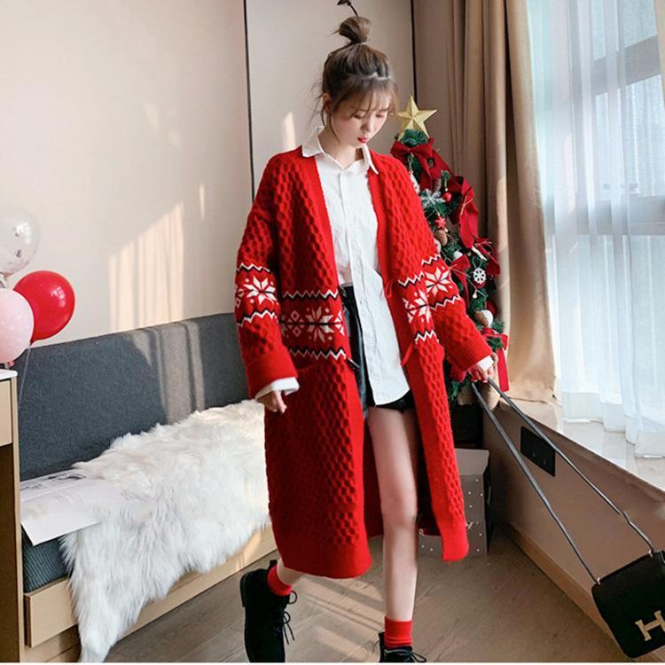 Осень и зима 2021 Новый корейский геометрический жаккардовый рог длинный свитер пальто универсальный вязание кардиган женские моды
