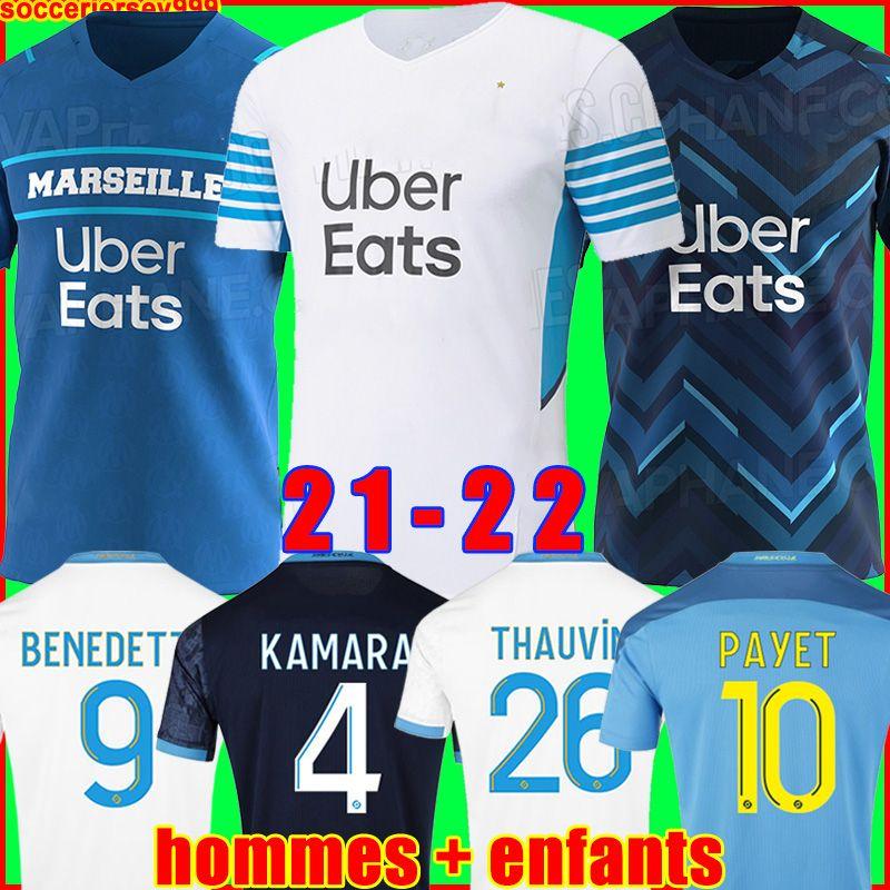 Olympique De Marseille futbol forması 20 21 OM 2020 2021 PAYET THAUVIN BENEDETTO futbol forması futbol formaları erkekler + çocuklar kiti üçüncü