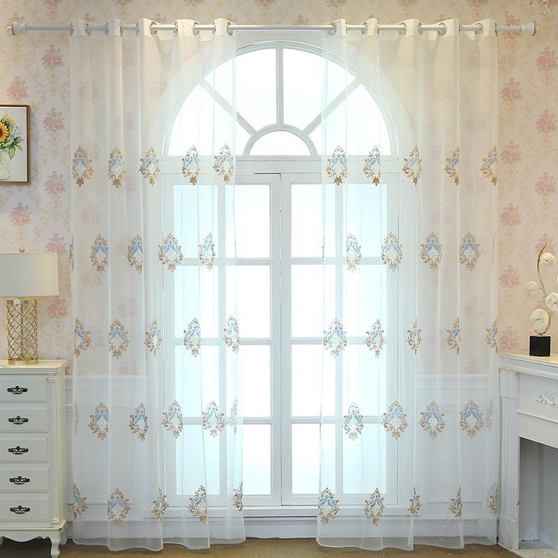 Vorhangdrapes White Garn Bottom Cardains für Wohnzimmer Balkon Gaze Schlafzimmer Europäische stickte Fenster Tüll