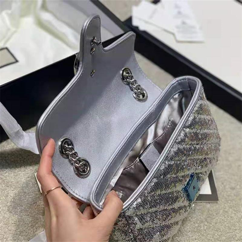 Taschen Designer Taschen 22 cm Schnalle Version Buchstabe Kreuzkörper Schulterlegierungsketten Pailletten Silber Neue Luxurys Ankunft Thinck Pailletten Frfoj