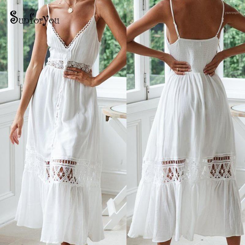 Sexy Estate Bianco A Line Cotton Crochet Bohemian Dress Vestito in pizzo Patchwork senza maniche Seolie Profondo V Collo Maxi Long Sarong Robe Plage1