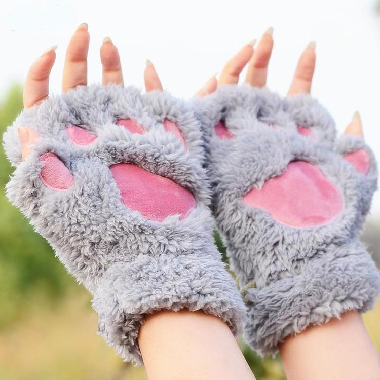 겨울 반 손가락 장갑 여성 귀여운 만화 곰 오픈 고양이 두꺼운 모피 매달려 목 따뜻한 5 손가락
