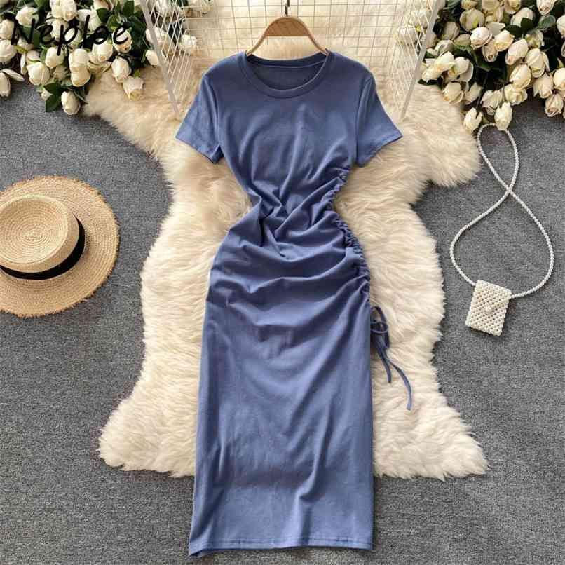 O Pescoço Pulôver Manga Curta Dress Mulheres Cintura Alta Cintura Hip Uma Linha Slim Vestidos Drawstring Preto Projeto Multicolor Robe 210521