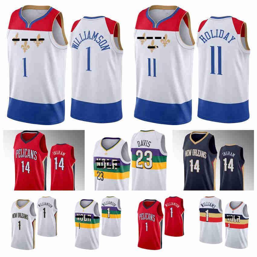 "Ion 1 Williamson New Orleans ""Pélicans"" Basketball Jerseys 14 Ingram Davis Jersey 2021 Edition Ville Blanc Hommes Kid Youth S-XXXL"