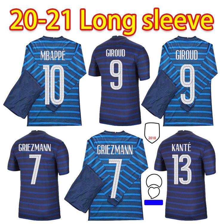 Euro 2021 tazza Mbappe Griezmann Francia Manica lunga Maglia da calcio Pogba Giroud Kante Maillot de Foot Equipe Maillots Camicia da calcio Uniformi La 2022 Men + Kid Kit