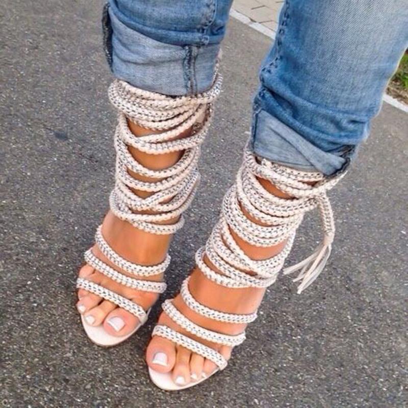 Sandales à lacets de corde à la corde Sandales Femmes à lacets Talon fines Chaussures Chaussures Strappy Shappy Saandales Bottes pour navire gratuit