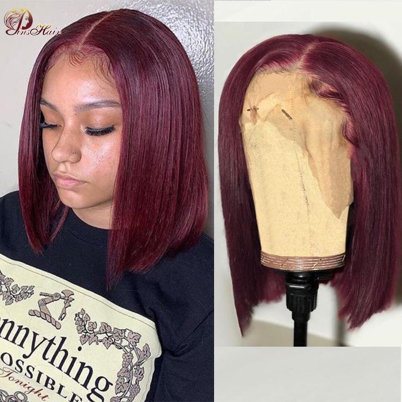 Pinshair Бургундский перуанский боб парики человеческих волос # 30 99J Предварительно окрашенные 13 * 1 прозрачный кружевной реми Чернокожие женщины
