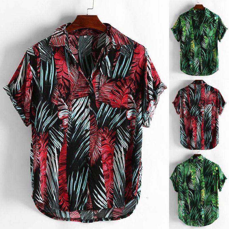 Camisetas Estilo de verano Impresión Playa Hawaiian Green Casual Manga Corta Hawaii Camisa Masculina Hombres Camisa