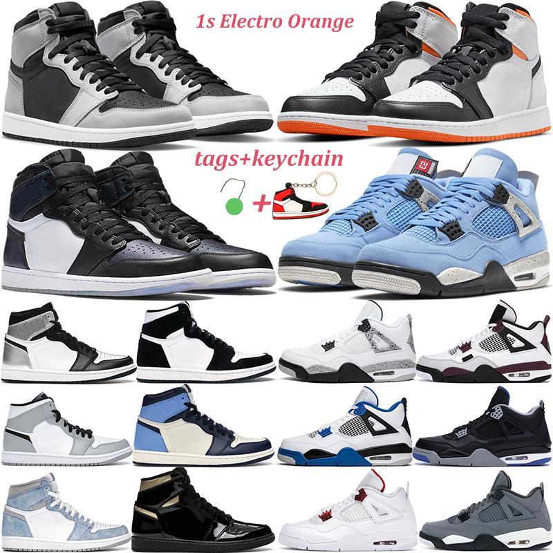 2021 nouvelles chaussures de basket-ball hommes femmes 1s haut OG noir métallisé or Volt université bleu 4s rouge feu 4 chat hommes baskets