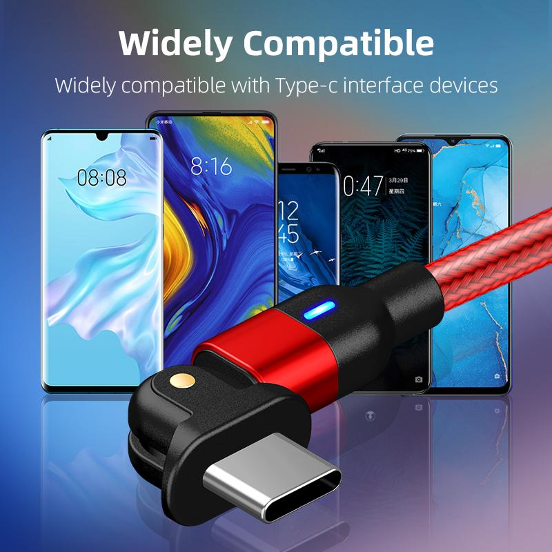 180 Degree Rotate Cable Usb-C Cables Type C Mobile Phone Charger USB Wire Data Quick Charge