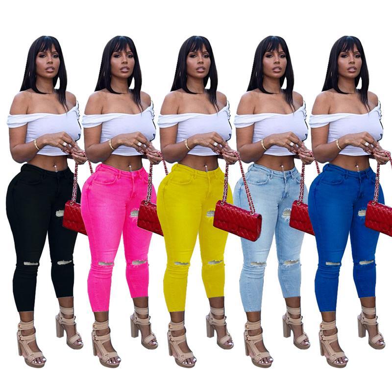 الصيف النساء هول الدينيم الجينز ضمادة الأزياء ممزق طماق زائد الحجم 2xl الملابس عارضة ليلة نادي الملابس DHL 5348