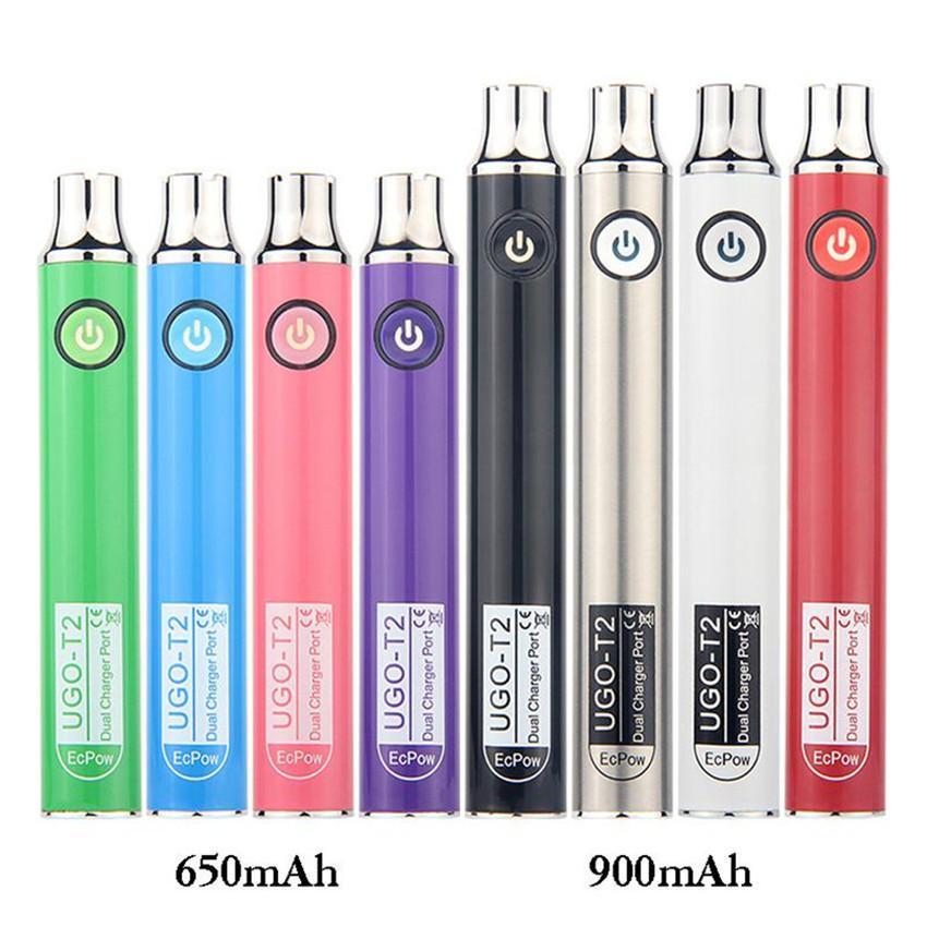 Оригинальный ECPOW UGO PEW T2 Переменный напряжение Vape Pen 650MAH 900MAH с двойным портом зарядного устройства USB для патронов на 510 баков