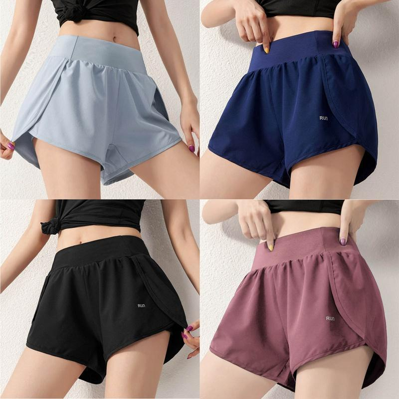 Women'S Sports Shorts Light-Proof Fitness Pants Casual Loose High-Waisted Fast-Drying Open Running Yoga