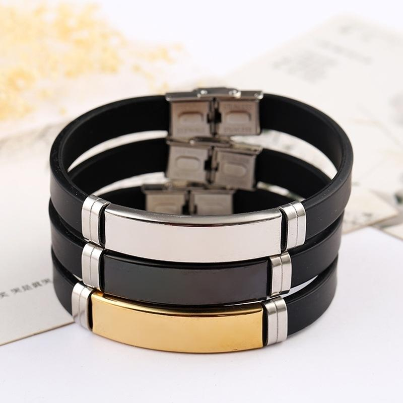 Stainless Steel Blank ID Tags Silicone Bangle For Engrave Silver Color/Golden/Black Metal Plate Bracelet Wholesale 10pcs 210408