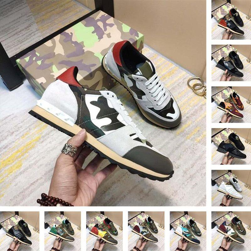 2021 Stivali da donna e da donna Classic Camouflage Rivet Maglia in pelle scamosciata Sue Ealdo Sneakers casual da esterno, con scatola, sacchetto di polvere gratuito Dimensioni: EU35-45