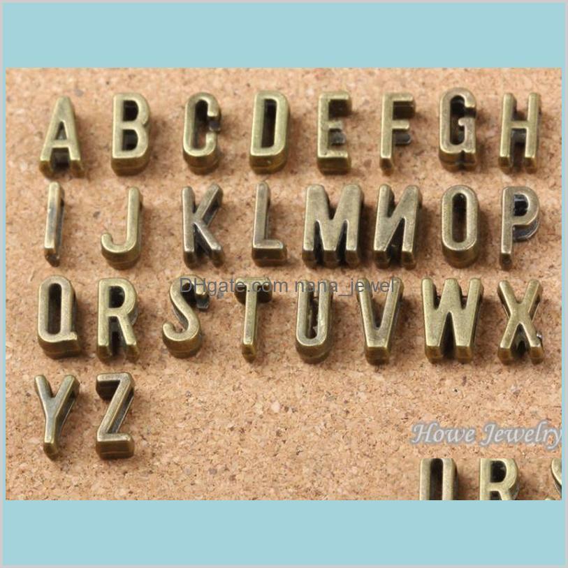 찾기 부품 구성 요소 쥬얼리 AZ 골동품 시어 슬라이드 문자 매력 DIY 맞춤 7mm 평면 가죽 팔찌 알파벳 단어 편지 6737 드롭 델리