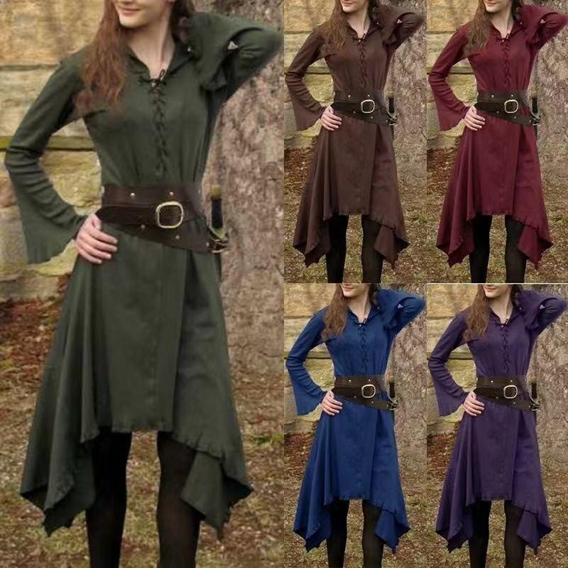 Abiti casual Costume medievale Abito di Halloween Dress Donna Cosplay Stage Performance Irregolare Manica Lunga Manica Lunga Cotone Bandage Vestido 2021