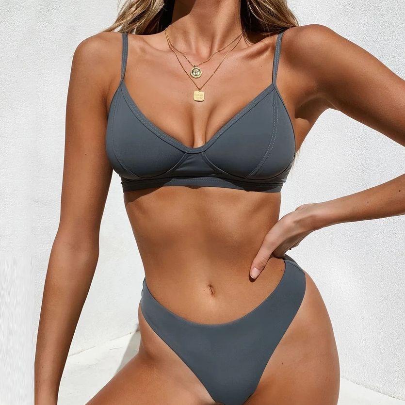 Sexy Solid / Blumen / Krawatte Farbstoff Tanga Brasilianer Push Up Bikini Set 2021 Badeanzug Frauen Badebekleidung Strand Tragen Schwimmen Badeanzug Beachwear 210419