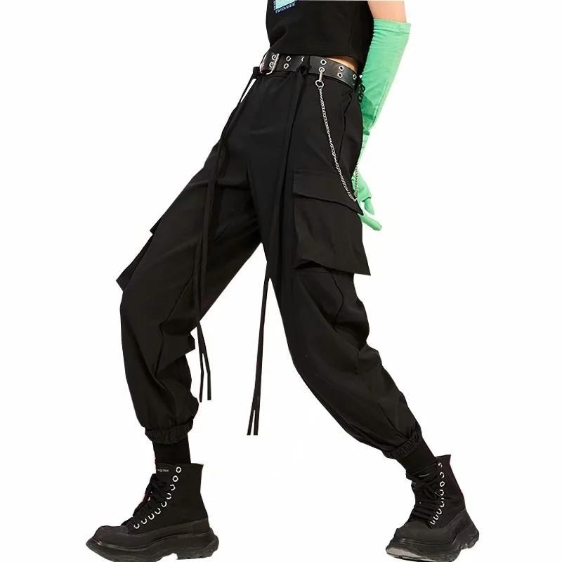 Kadınlar yüksek artış kargo pantolonu siyah 210520