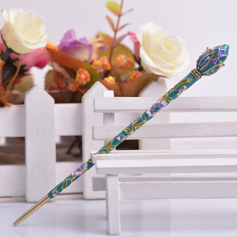 Muylinda estilo chinês lótus flor esmalte pino de cabelo acessórios acessórios mulheres traje clássico metal cabelo clipe jóias 1738 Q2