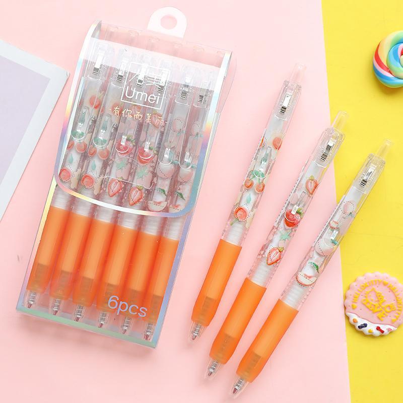 Gel Pens 6pcs Lytwtw's Cute Kawaii Creative Lovely Fruit Student Writing School Office Stationery Pen Handle/Press Black Neutra