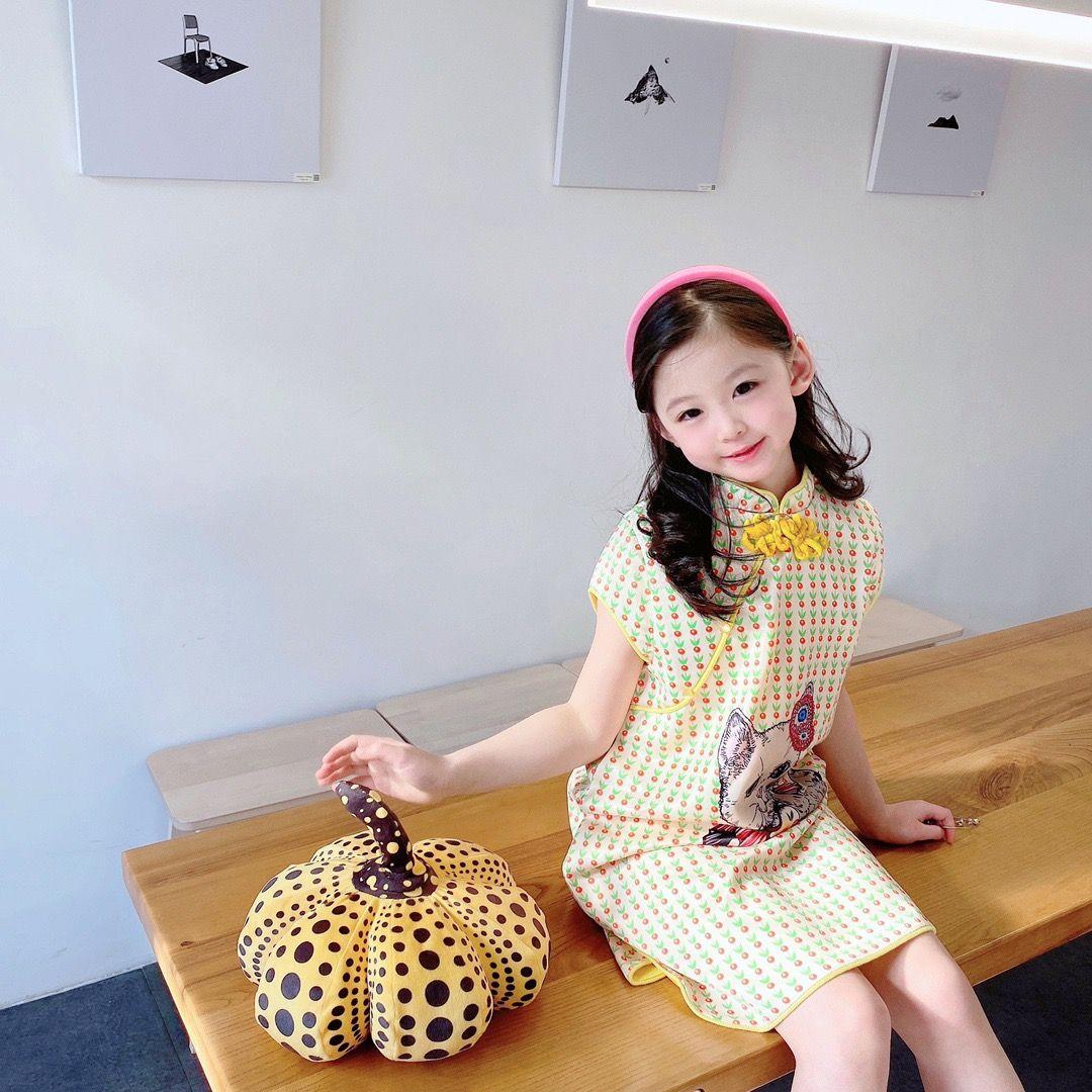 Estilo chino Baby Girls Dress Ropa para niños 2021 New Kids Girl Cheongsam Vestidos Vestido encantador Traje