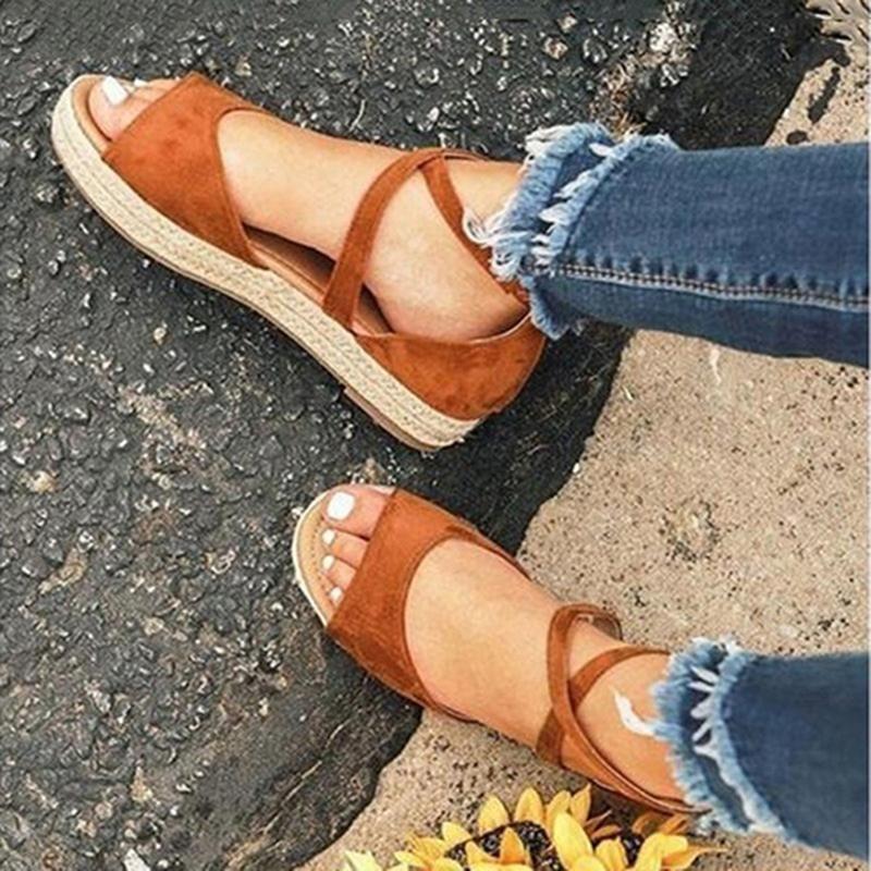 Estate 2021 Sandali Donne Sandali morbidi Signore Confortevole Flat Open Toe Shoes Shoes Donna Calzature donna
