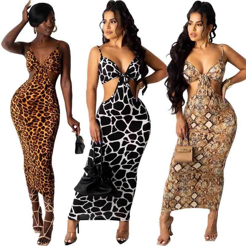 Zkyzwx Sexy serpiente de la serpiente Bodycon Dresses Off Hombro Ropa de verano para las mujeres Trajes de cumpleaños Leopardo ahueca hacia fuera Vestido Maxi X0521