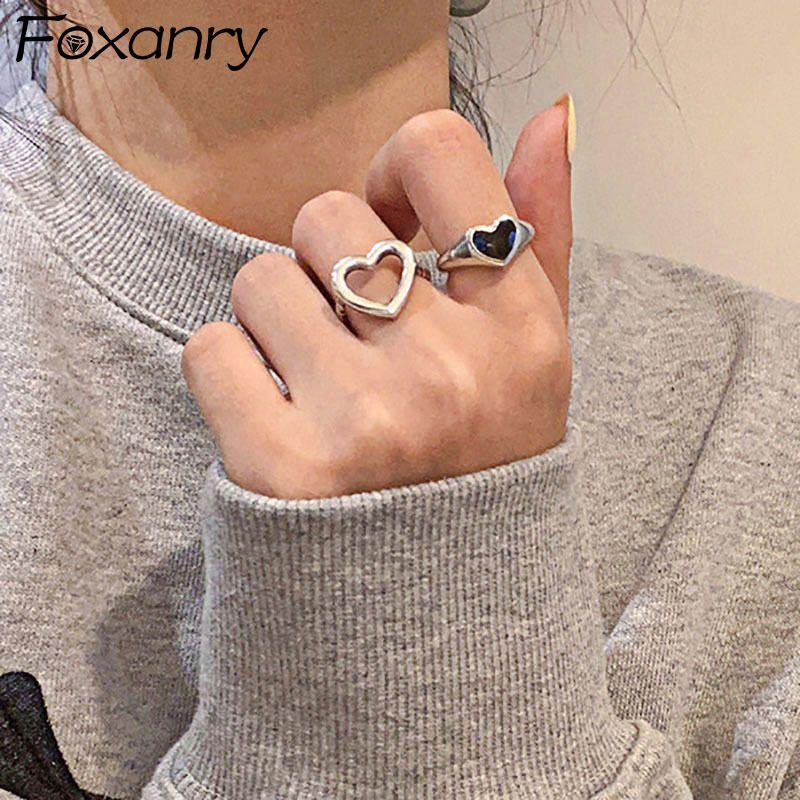 Foxanry Minimalist 925 Стерлинговое серебро Палевые кольца для женщин Мода Творческий Полый Любовь Сердце Элегантная Партия Ювелирные Изделия Gifts Y0426