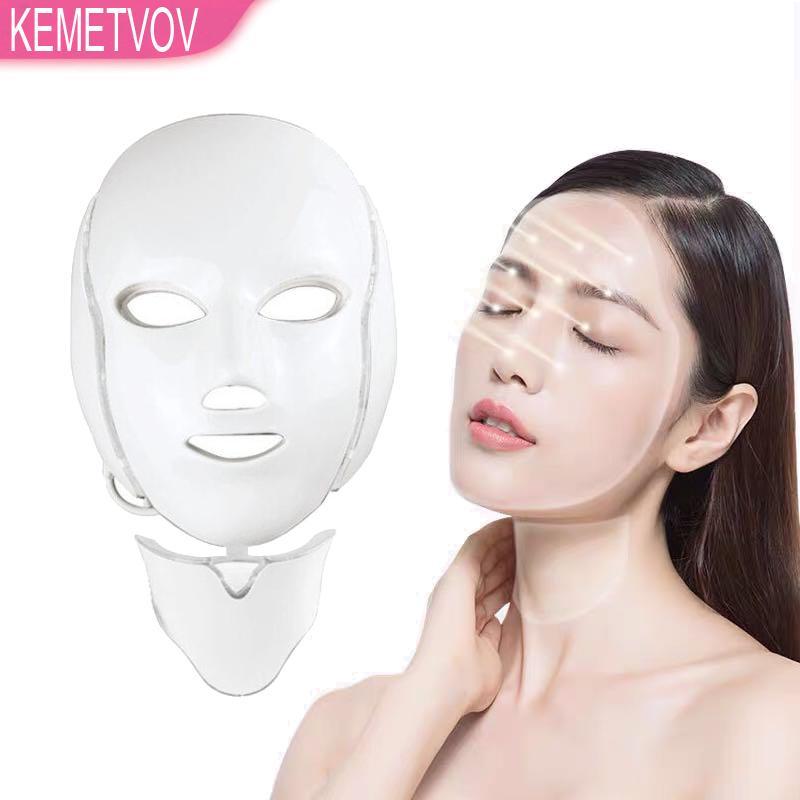 7 ألوان الصمام العلاج بالجمال الوجه الفوتون قناع ضوء العناية بالبشرة تجديد التجاعيد حب الشباب إزالة الوجه الرقبة الجمال الصك الصك