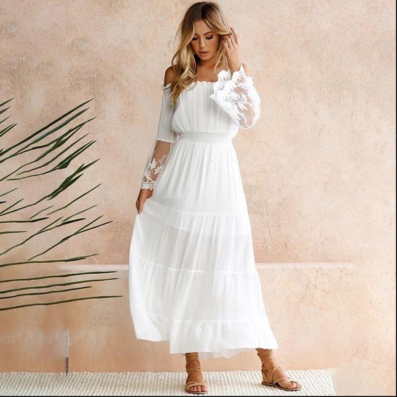 Mulheres vestidos de mulheres strapless manga longa solta vestido de praia branco sexy fora do ombro lace boho maxi