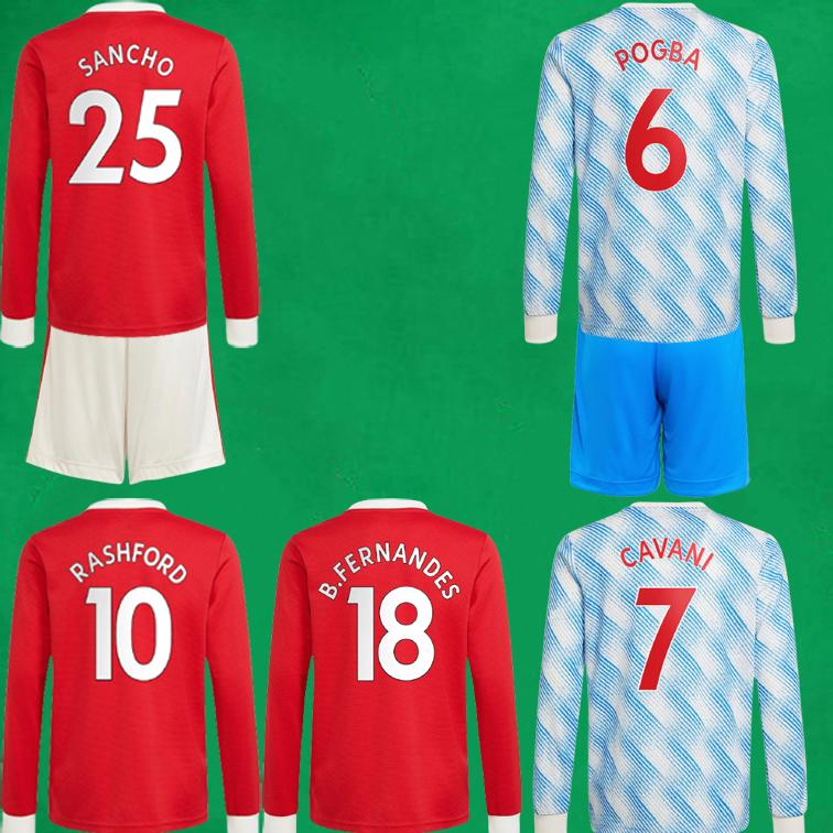 21 22 Sancho Futebol Jerseys Kits 2021 2022 United Bruno Fernandes Pogba Martial Rashford Futebol Conjuntos Home Away Homem Utd Manga Longa Uniformes