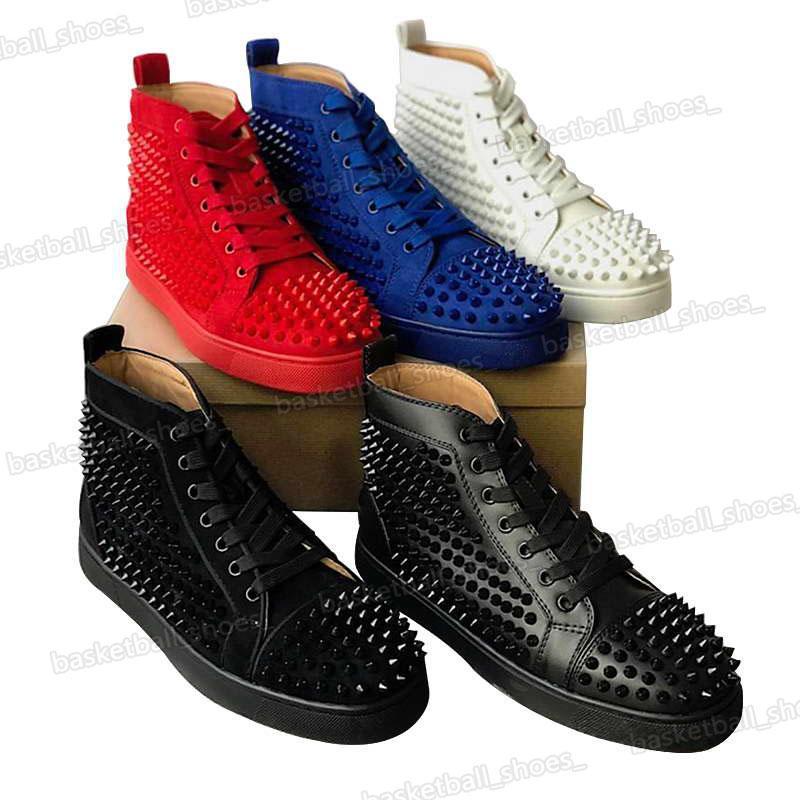 Mais novo Sapato de Luxo Sapatos Studded Spikes Moda Vermelho Camurça De Couro Mens Sneaker Womens Bottoms Party Lovers Festa Big Size Men Sapatos