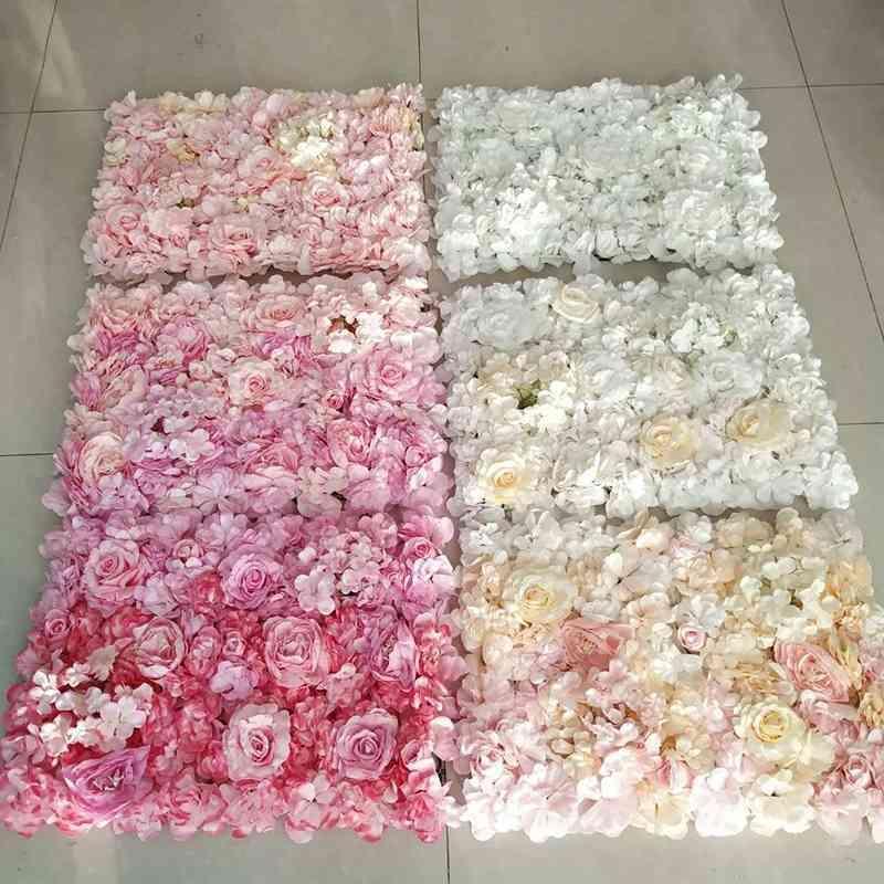 40x60cm Artificial Flower Wall Wedding Decoration flower mats Rose Fake Flowers Hydrangea wedding flower Panels T200716