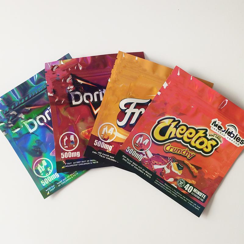 Fritos Doritos Cheetos Edibles Borse di imballaggio Borse vuote Hologram Surface Meidibles Snacks Mylar Reseabile Odore proff Contenitore 12.5 * 14 cm