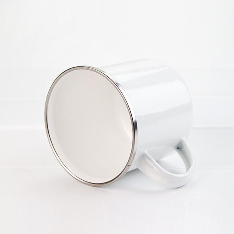 12oz Sublimation Tasse en émail de la chaleur Transfert de chaleur Tumblers émaillés avec poignée 350 ml blanc vierge blanche sublimée tasses de café maraîchage KKB7078